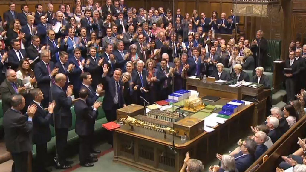 David Cameron receives a standing ovation from his Conservative colleagues (AAP)