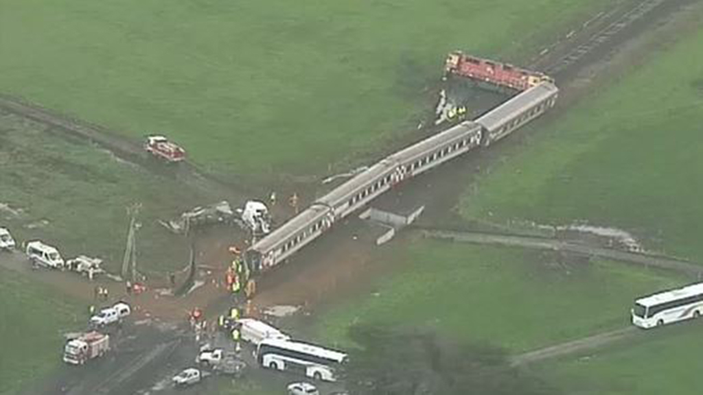 A train and truck collision in regional Victoria has left 19 people injured. (9NEWS)