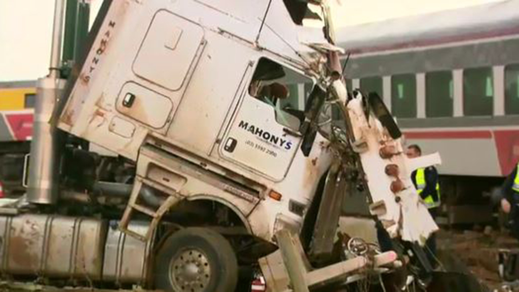 The 41-year-old truck driver was airlifted to Royal Melbourne Hospital in a serious condition. (9NEWS)