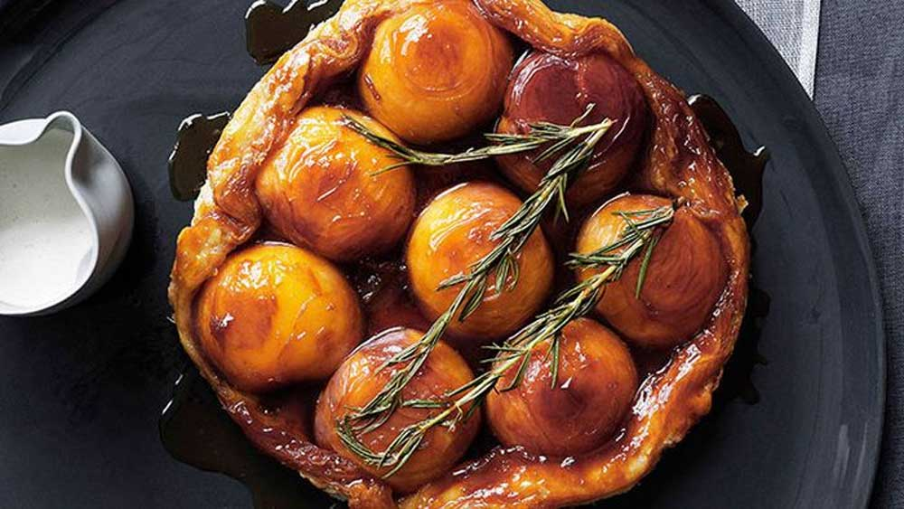 "Recipe: <a href=""http://kitchen.nine.com.au/2016/05/16/18/21/peach-and-rosemary-tarte-tatin-with-runny-cream"" target=""_top"">Peach and rosemary tarte tatin with runny cream</a>"