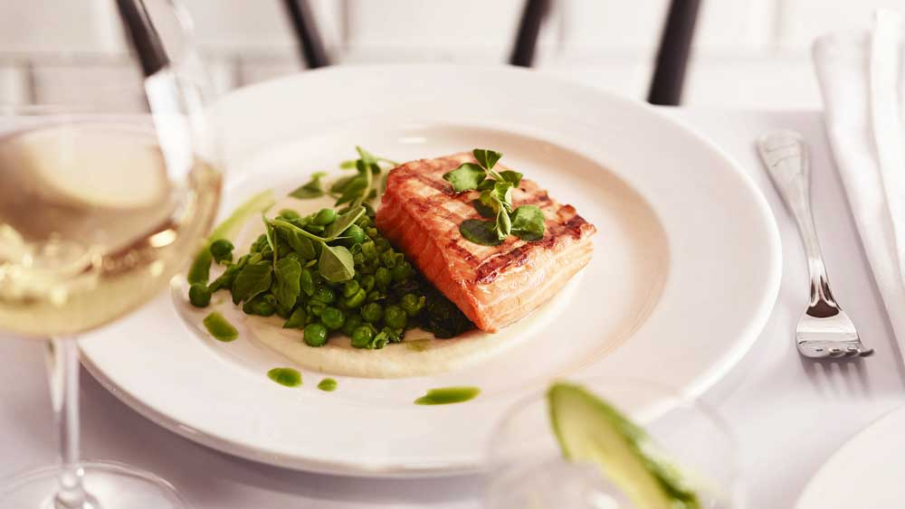 Nathan Johnson's wood grilled king salmon for Felix, Sydney