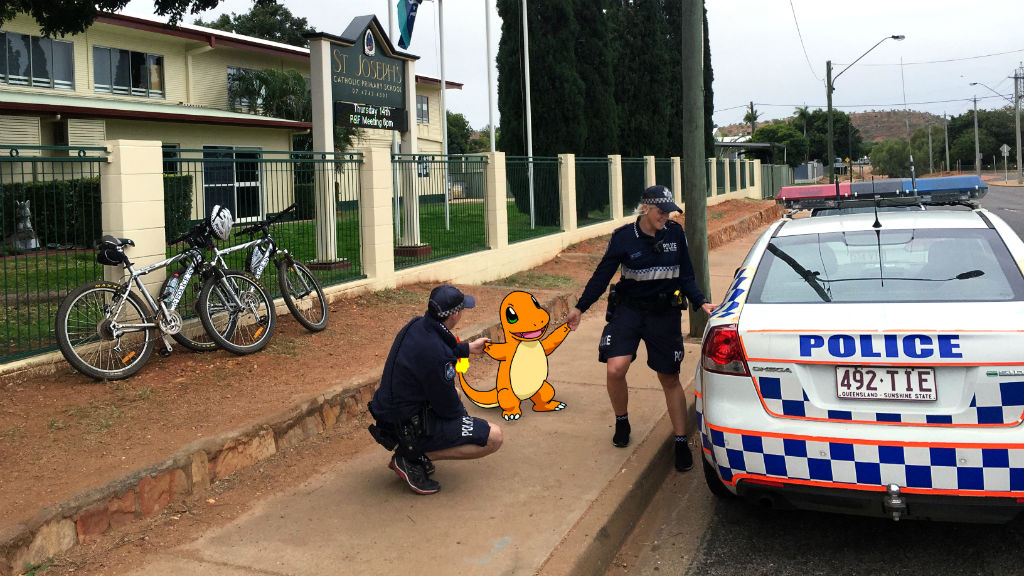 Popular Charmander character lurking outside  Mount Isa primary school's gates.(QLD Police)
