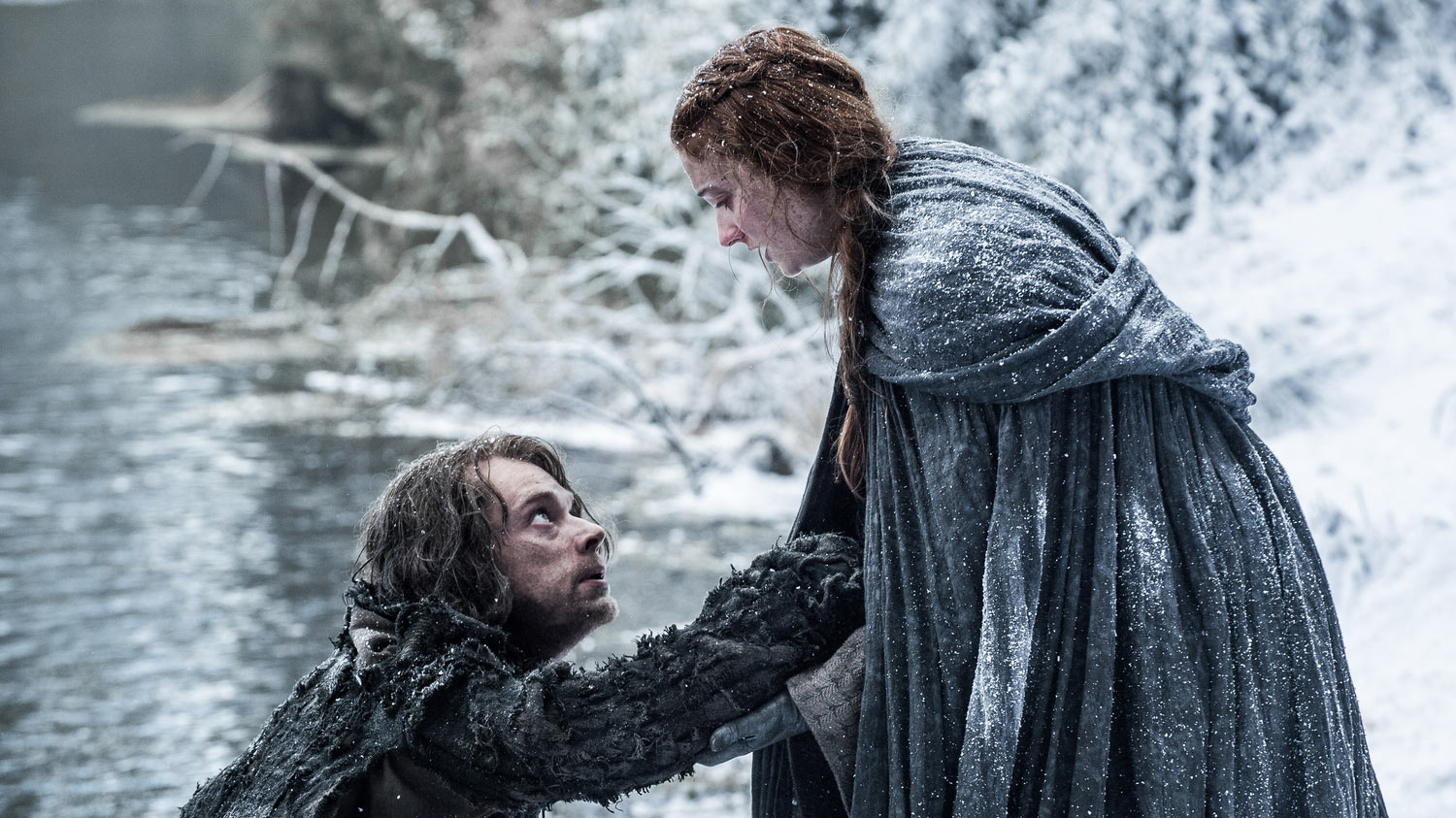 Two characters from HBO's fantasy epic Game of Thrones, Theon Greyjoy and Sansa Stark. (HBO)