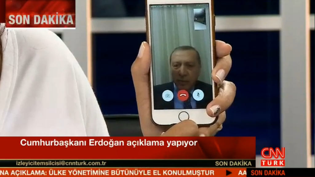 Turkish president Recep Tayyip Erdogan appears on TV via Facetime to denounce the military coup. (CNN Turk)