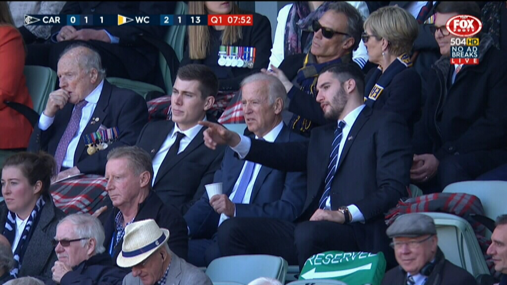 Mr Biden sat in the stands with two American players - Blues rookie Matt Korcheck (right) and Collingwood's Mason Cox - as well as Foreign Minister Julie Bishop. (Fox Footy)