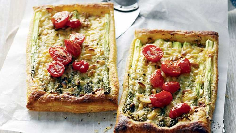 Asparagus cheese and tomato tarts