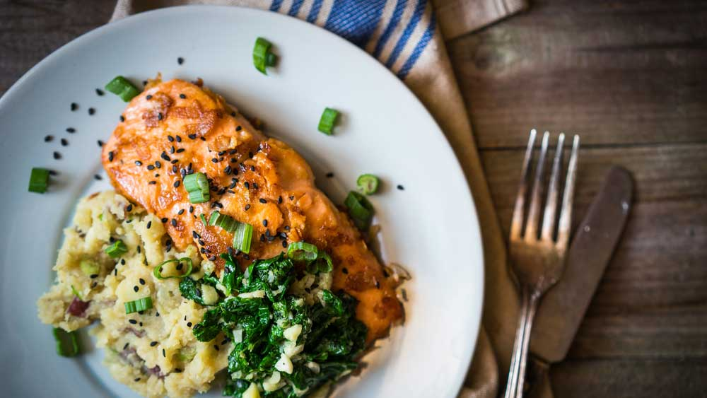 Grilled salmon and cauliflower mash courtesy of Nik Toth