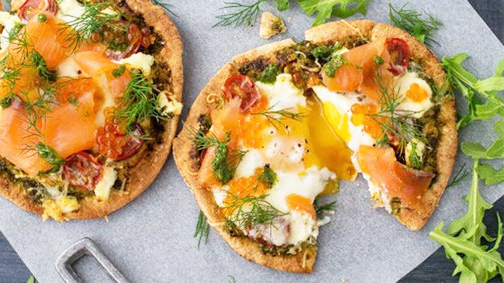 Whisky cure salmon breakfast pizza