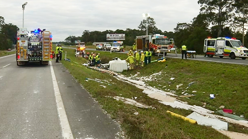 Truck rollover forces closure of Bruce Highway at Palmview