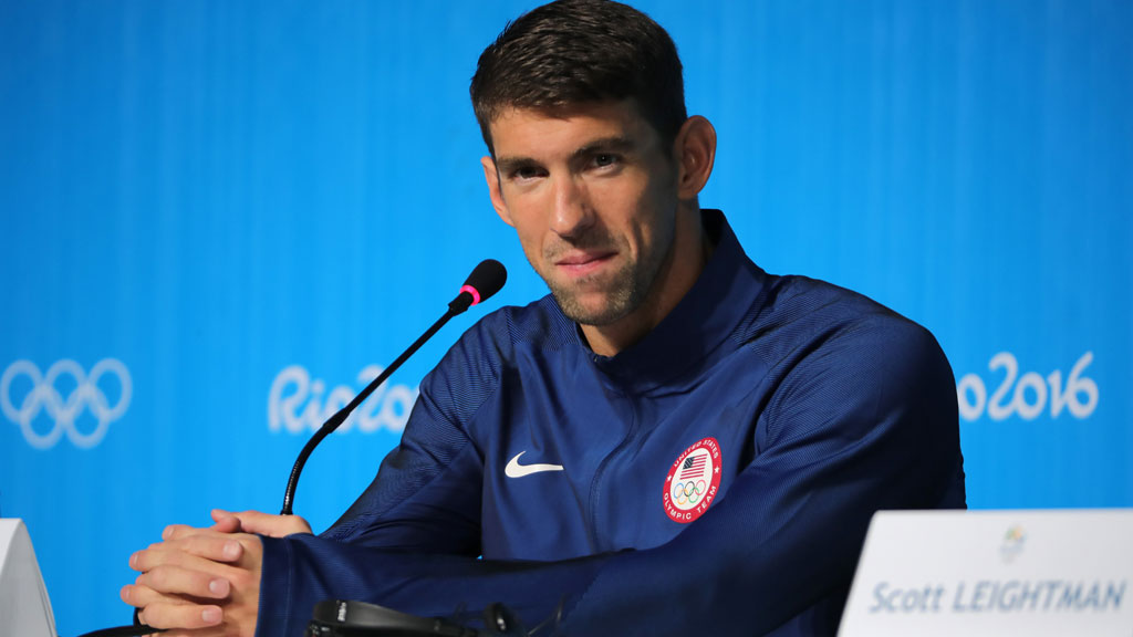 Michael Phelps (USA), is seen during the Swimming Press Conference of team USA at the MPC (Main Press Centre) at Olympic Park Barra prior to the Rio 2016 Olympic Games. (AFP)