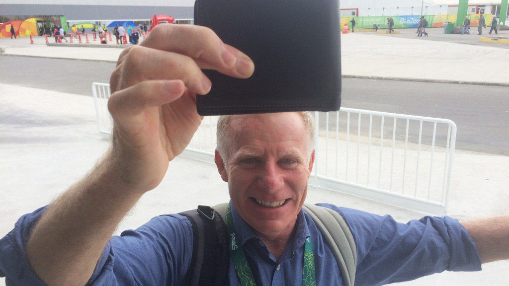 9NEWS reporter Damian Ryan dropped his wallet near the Olympic village yesterday, only for it to be handed in later by a Good Samaritan. (Damien Ryan)