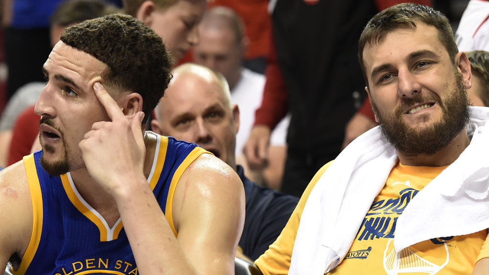 Klay Thompson and Andrew Bogut during their time as Warriors teammates. (Getty Images)