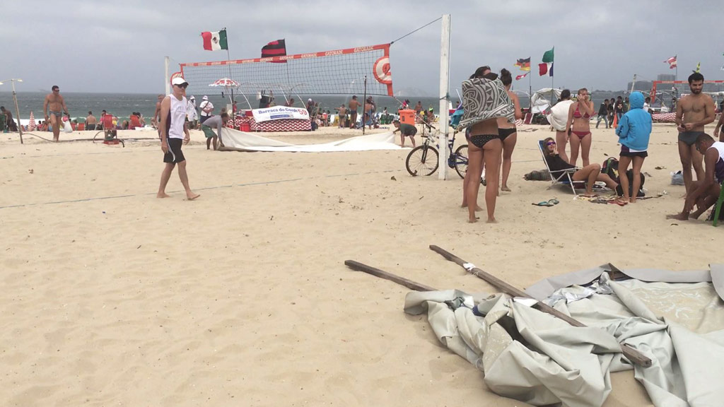 Wind is whipping across Copacabana beach. (Henri Paget/9news.com.au)