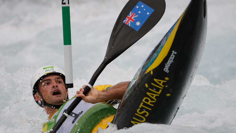 Lucien Delfour was eliminated from the canoe slalom in controversial fashion. (Getty)