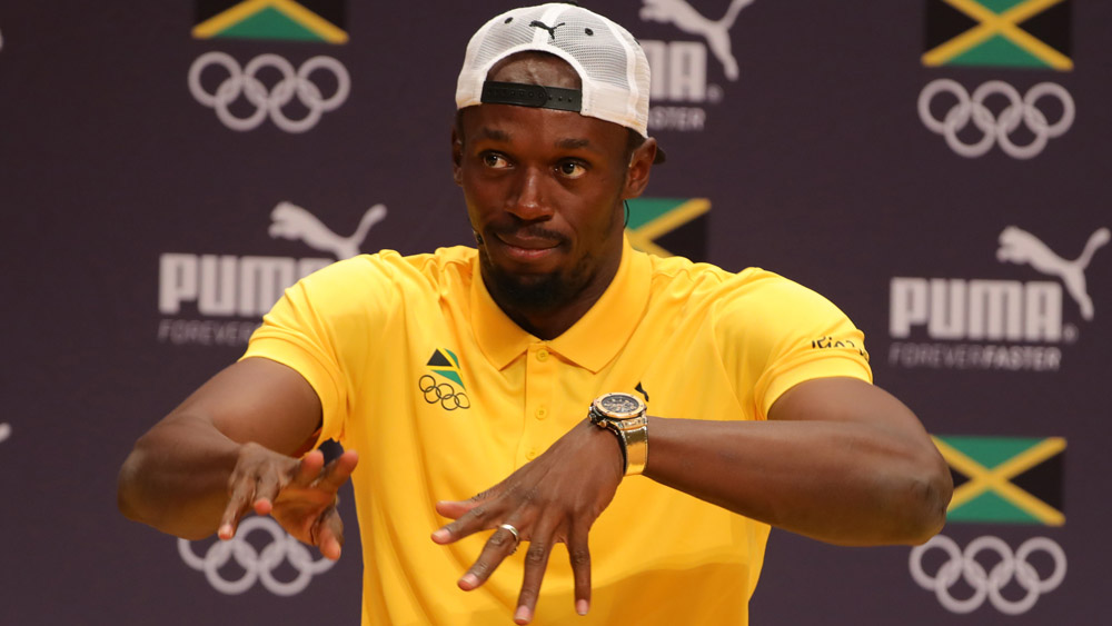 Usain Bolt as his media conference on Monday. (AFP)