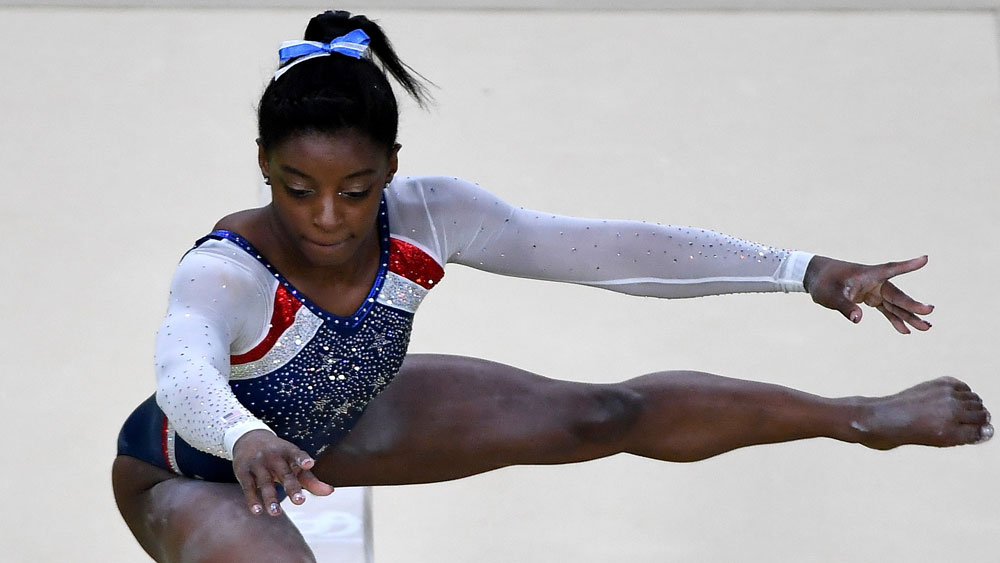 US gymnast Simone Biles was a clear winner in the women's all around event. (Getty Images)