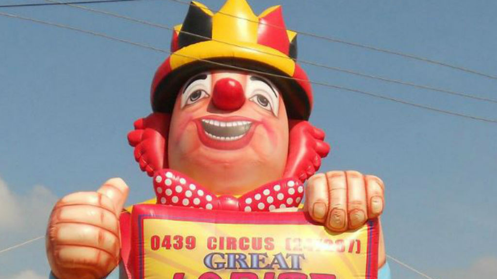 Joker steals giant inflatable circus clown in Adelaide