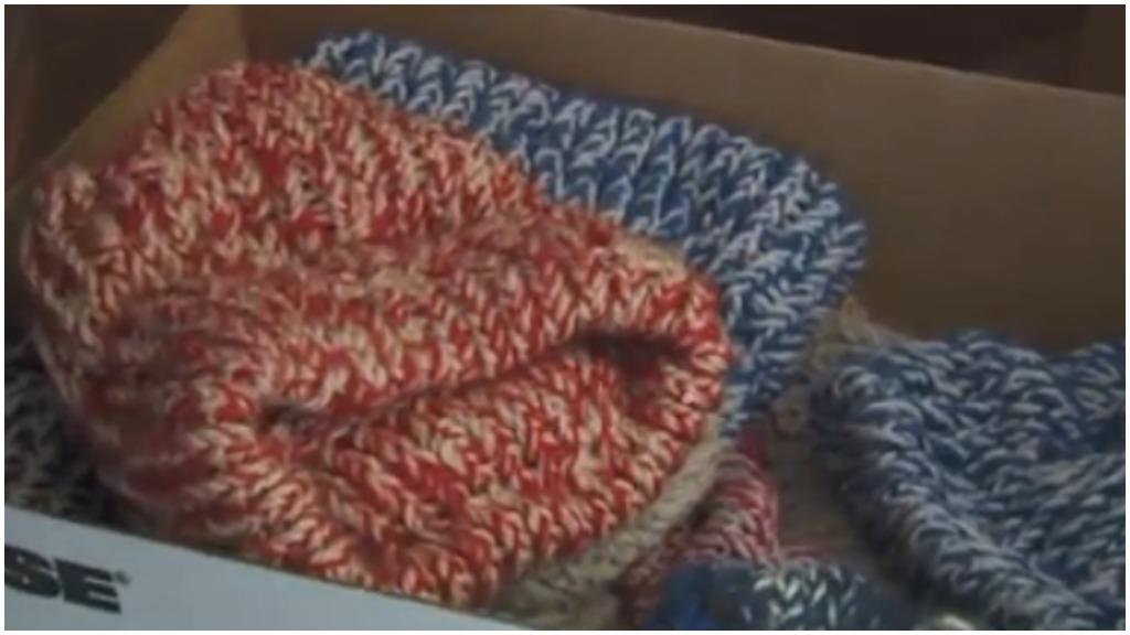 Mr Boogart's hand-knitted hats. (FOX 17)