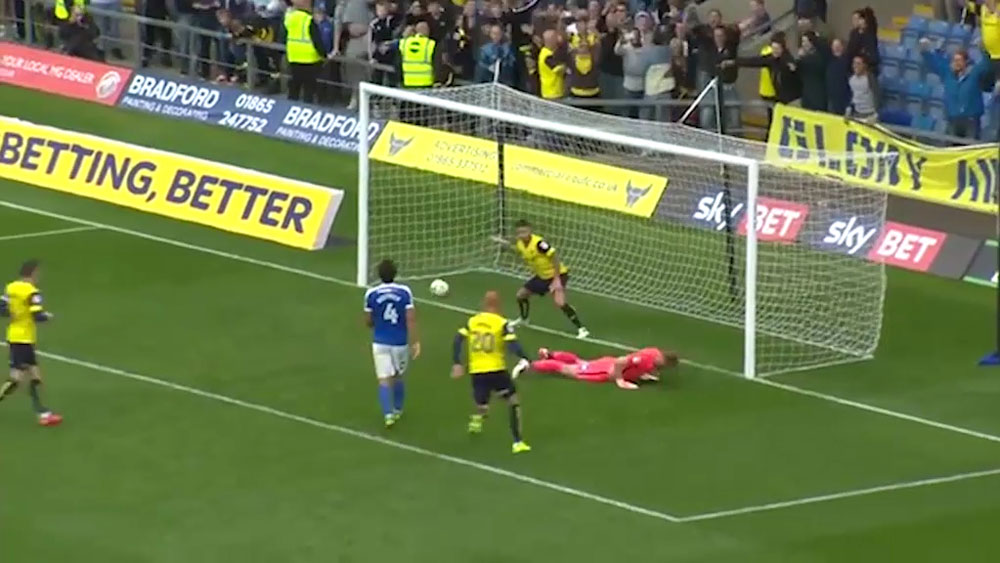 Oxford United's Chris Maguire ridicules goalkeeper after scoring penalty.