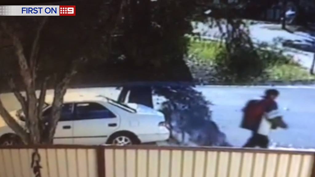 The video was shot on a nearby home's security video on Friday. (9NEWS)