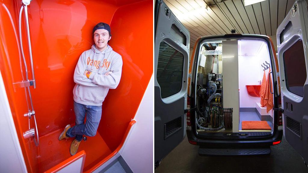 Orange Sky Laundry inventors unveil shower van for the homeless