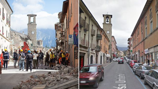 Scenes of devastation after powerful earthquake rocks central Italy
