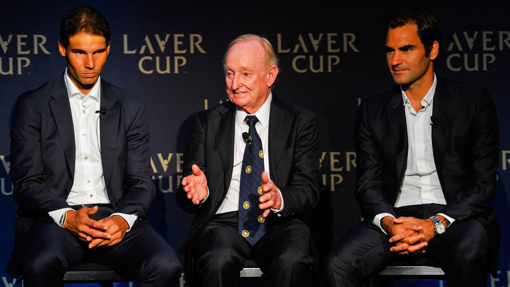 Tennis legends Rafael Nadal, Rod Laver, Roger Federer. (Getty)