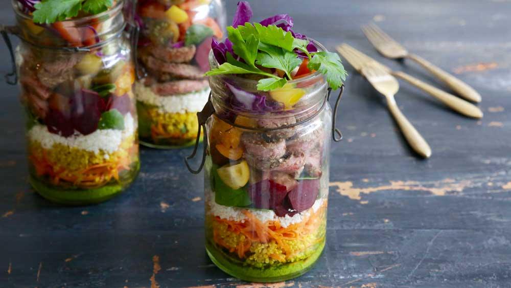 Jacqueline Alwill's sirloin salad jar