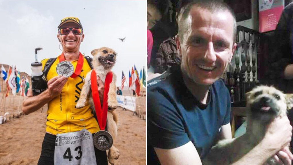 "Dion Leonard befriended stray dog ""Gobi"" during the 2016 Gobi March 4 Deserts Race. (4 Deserts/Facebook/Bring Gobi Home)"