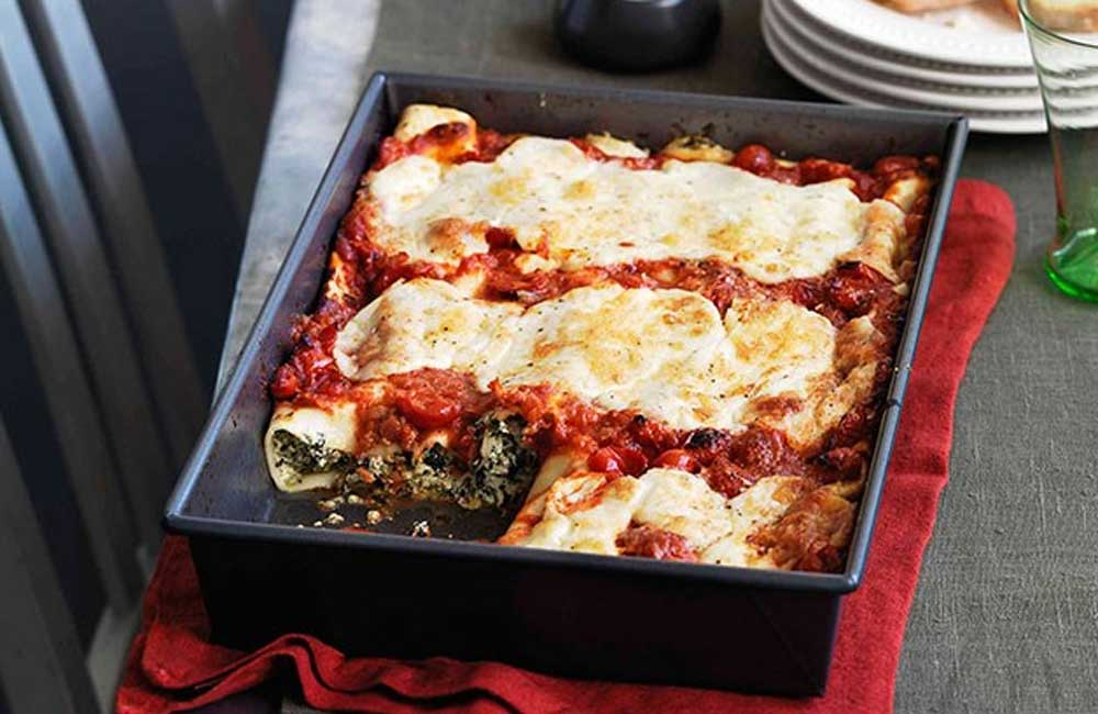 Bitter greens and ricotta cannelloni