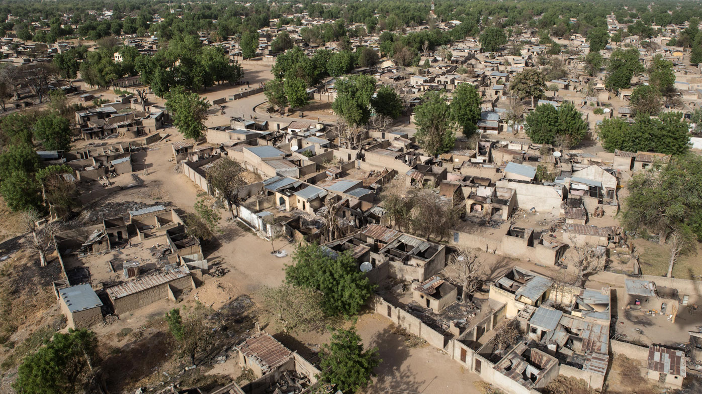 An aerial view of the deserted city. (AFP)
