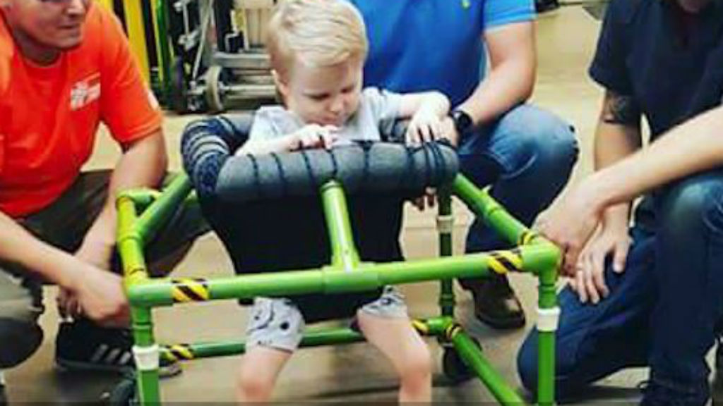 US hardware store builds custom walker for blind toddler