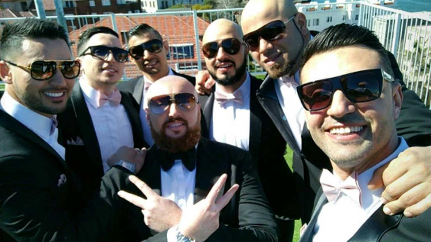 Salim Mehajer (left) and the rest of the groomsmen and groom Ibrahim Sakalaki. (Instagram)