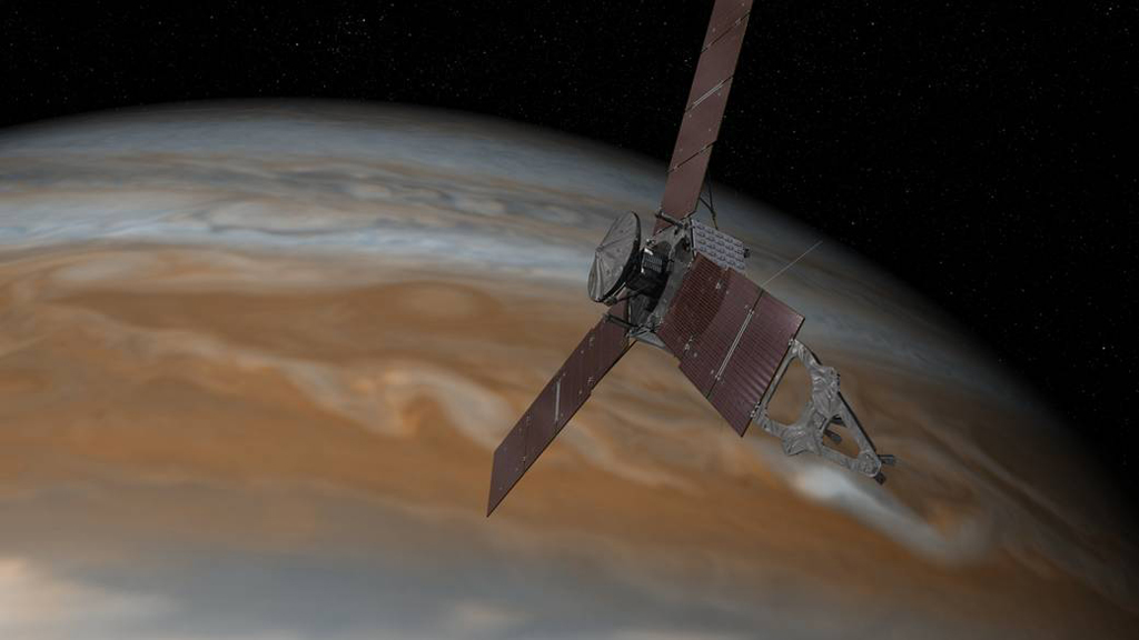 This artist's rendering shows NASA's Juno spacecraft making one of its close passes over Jupiter. (NASA)
