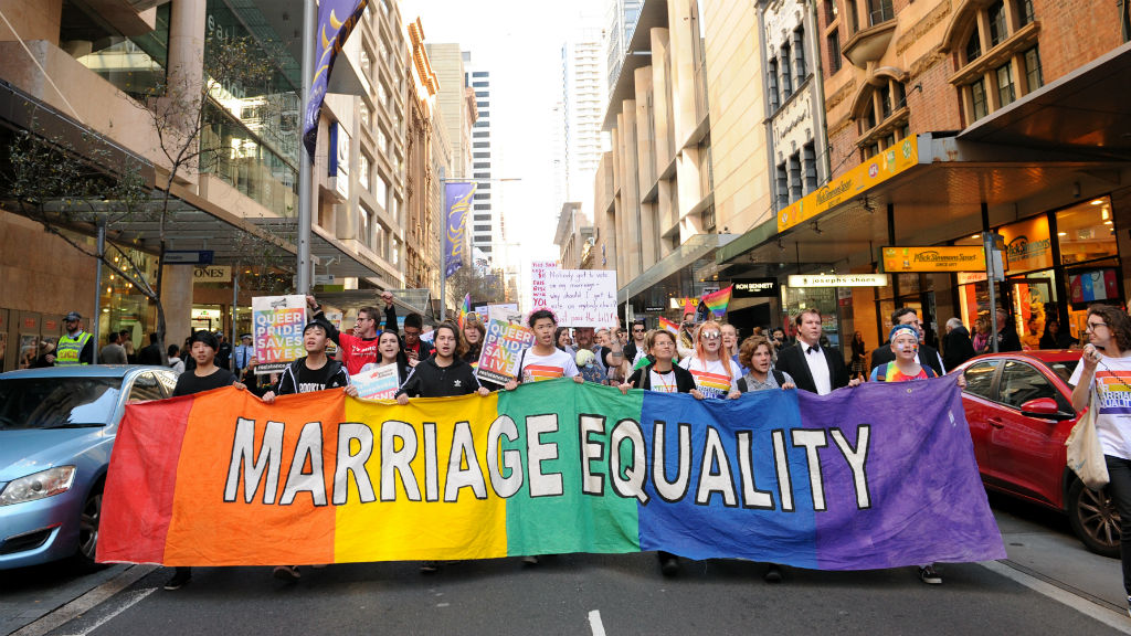 Same sex marriage supporters in Sydney earlier this month. (AAP)
