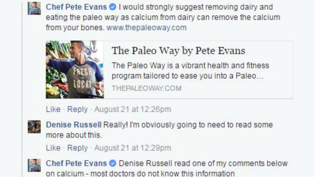 The post on Pete Evans' Facebook page last week. (Facebook/Chef  Pete Evans)