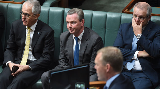 Tension on the government front bench during Labor's ambush last night. (AAP)