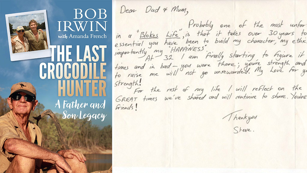 the cover sleeve for Bob Irwin's memoir The Last Crocodile Hunter: A Father and Son Legacy; a touching letter from a 32-year-old Steve to his parents, which his father, Bob, only found in 2016. (AFP)
