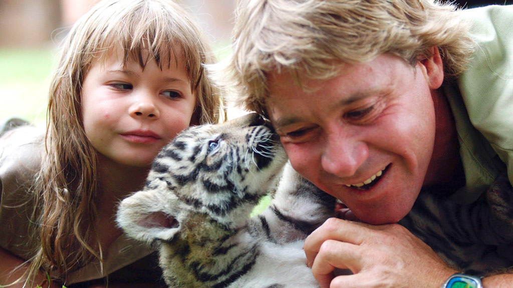 File photo of Steve Irwin with his daughter Bindi and a tiger cub.