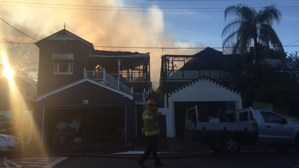 Two homes were destroyed by fire in Paddington. (9NEWS)