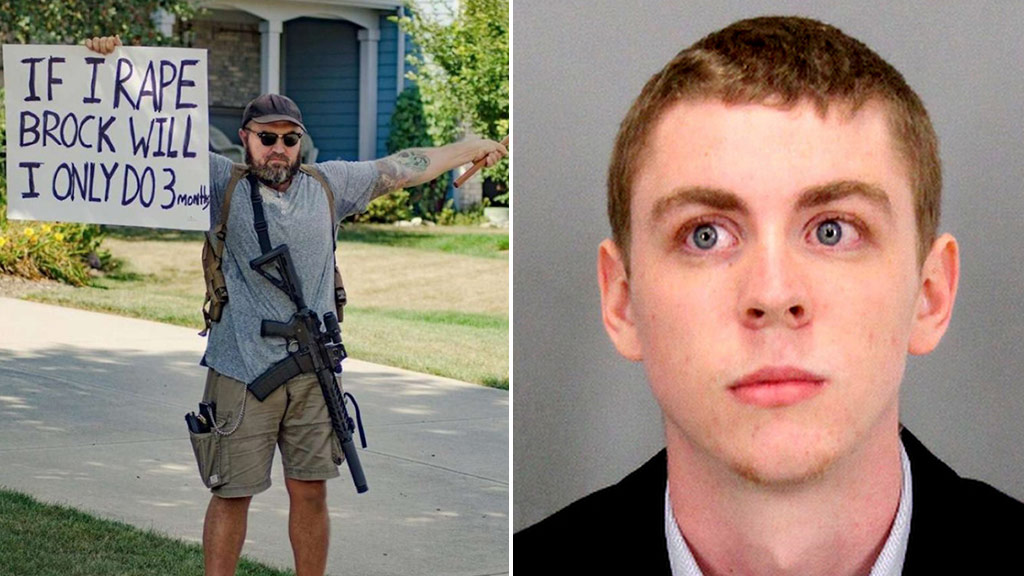 Armed protesters gather outside convicted sex attacker Brock Turner's home