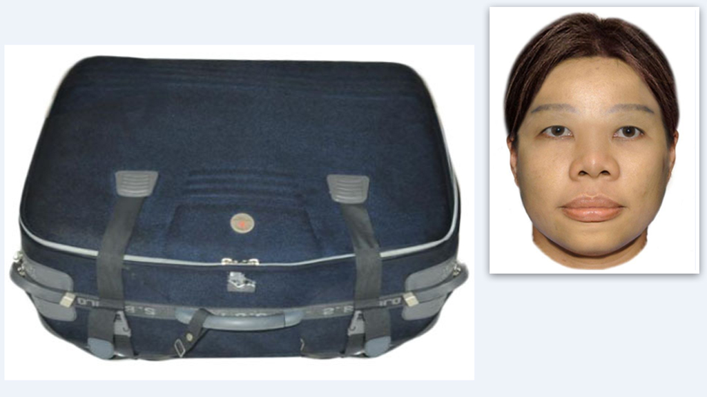 Police released digital images as well as images of the suitcase to try and find Ms Chen's alleged killers. (Supplied)