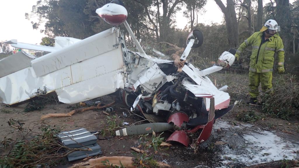 Pilot and passenger escape light plane crash with minor injuries