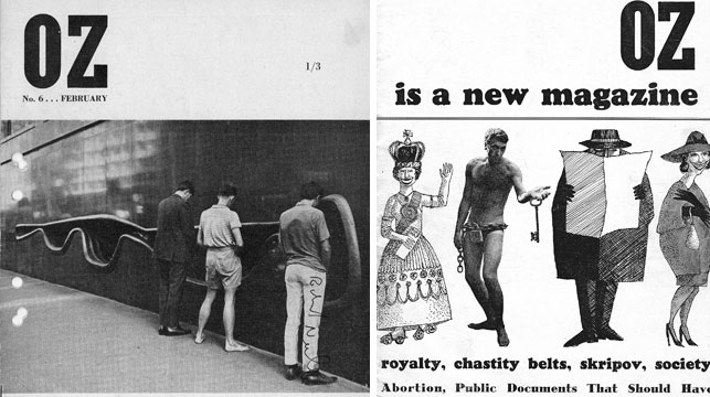 Early front covers of Oz magazine after its launch in 1963. (AAP)