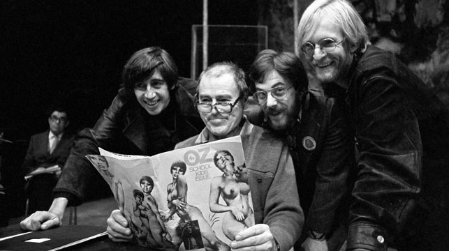 Oz editors with a member of the Shakespeare Company rehearsing for a reading of the 'Oz School Kids' issue which got them in legal trouble for obscenity. (AAP)