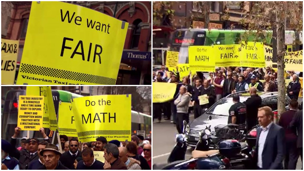 Hundreds of taxi drivers protest industry reforms in Melbourne's CBD