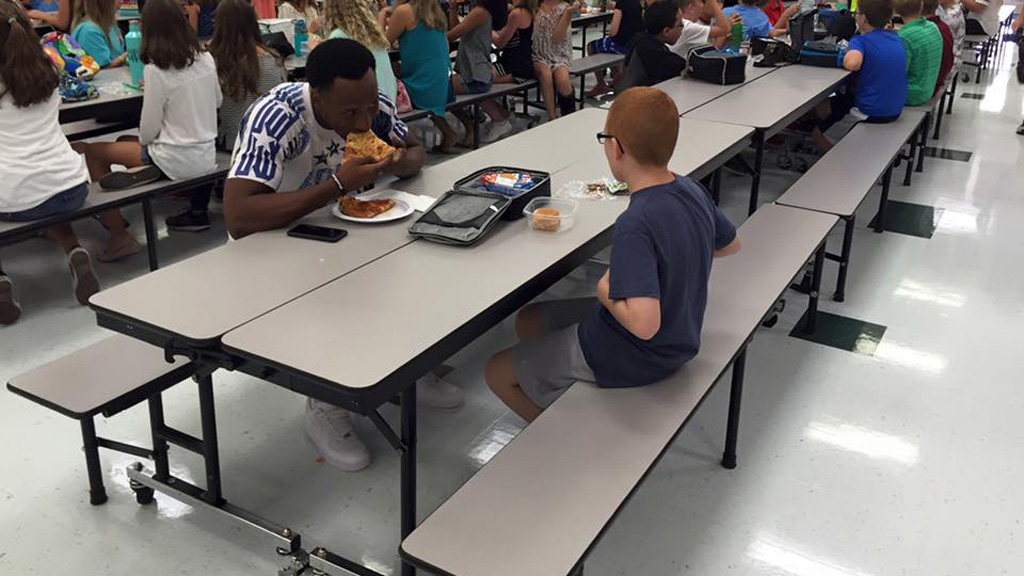 The became friends after Travis Rudolph joined Bo Paske for lunch after seeing him sitting alone. (Facebook)