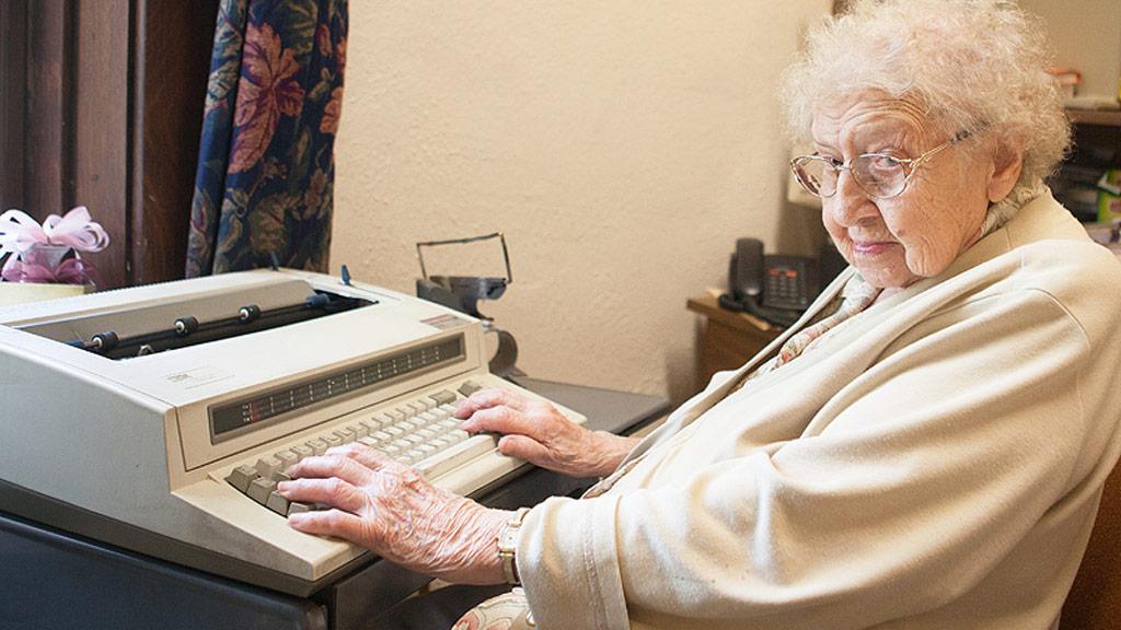 Ms Davis insists on using her typewriter. (Elisabeth Davis/Culver Academies)