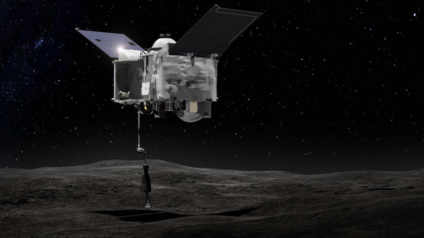 An artist's impression of the Tagsam arm ready to blast the surface of the asteroid. (Image: NASA)