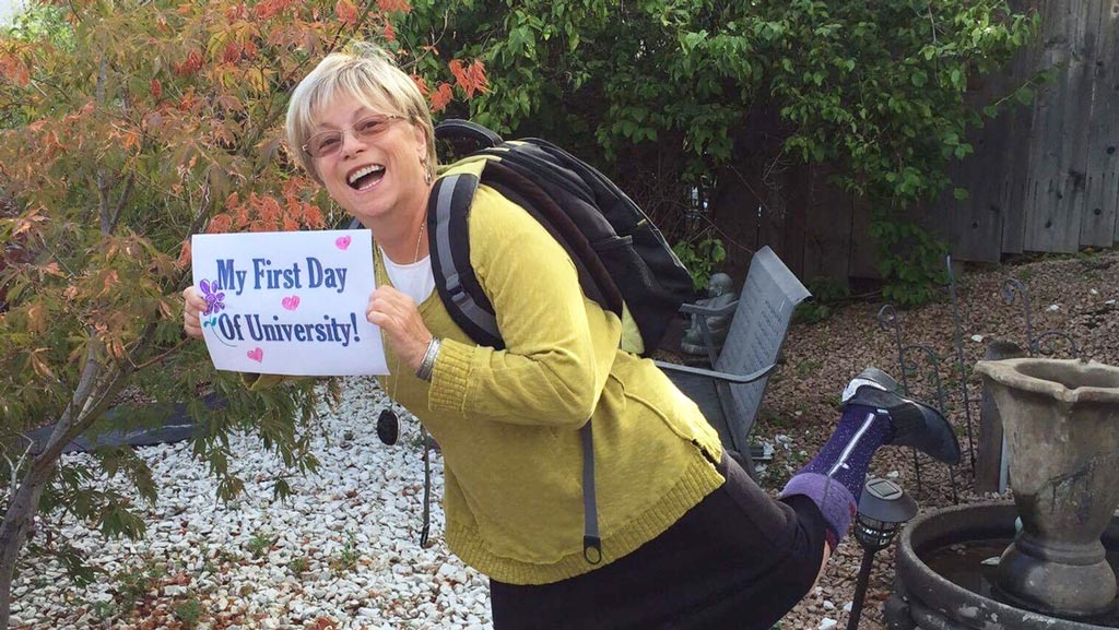 Sixty-five-year-old mum celebrates first day of university